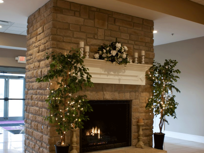 Little Bear Golf Club wedding interior fireplace