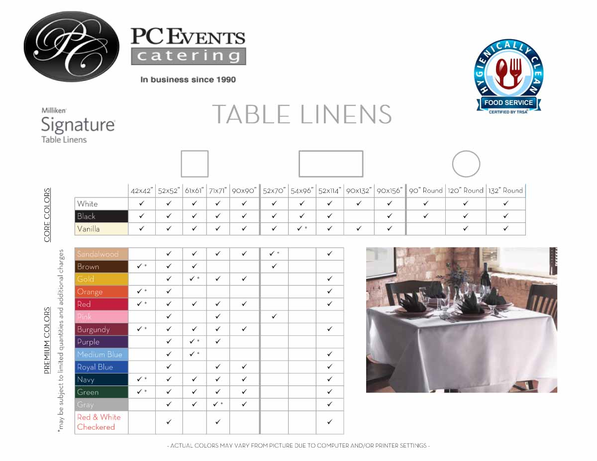 Linens used for catering in Columbus, Ohio