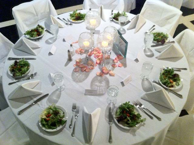 A pink flower centerpiece used for a wedding catering event in Columbus Ohio
