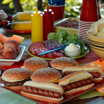 cookout catering with hotdogs and hamburgers by PC Events Catering