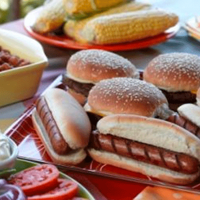 cookout catering hot dogs and hamburgers
