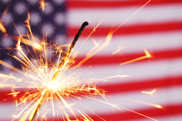 American flag with sparkler