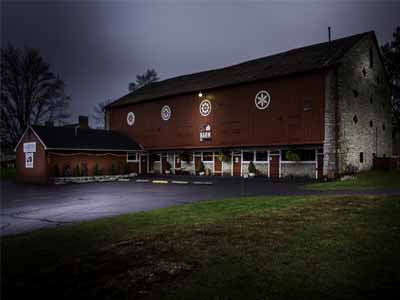 The Barn at Stratford exterior at night in Delaware Ohio