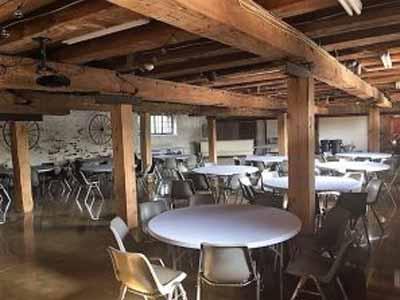 The Barn at Stratford interior wood posts Delaware Ohio