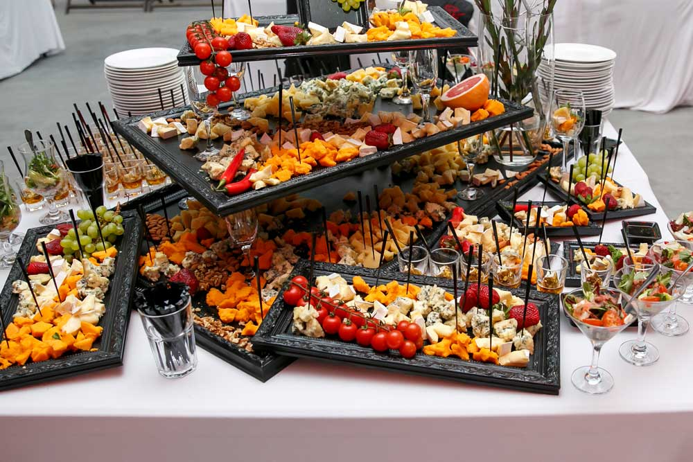 A collection of finger foods ready to eat