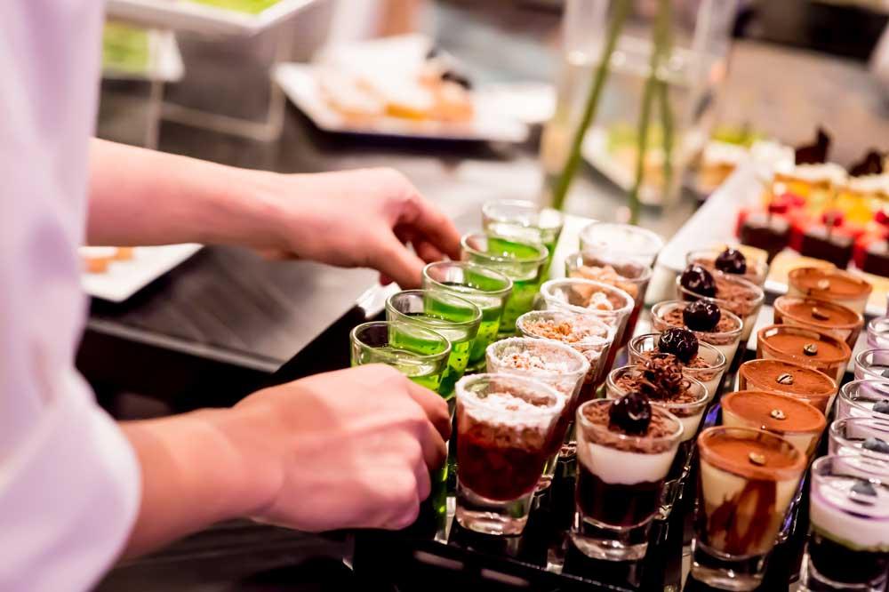 Shot cocktails being served