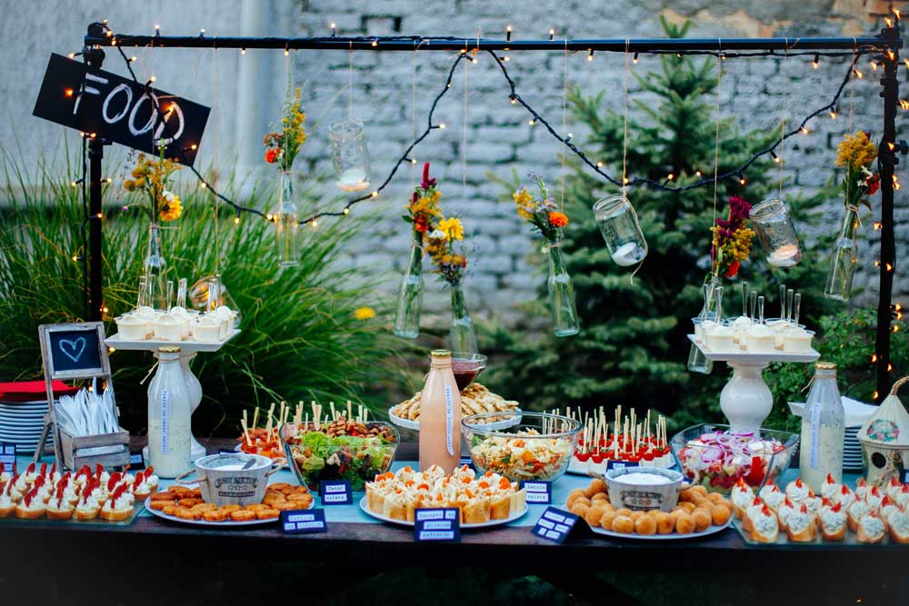 A display full of finger foods and appetizers