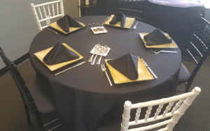 a table set up for wedding catering